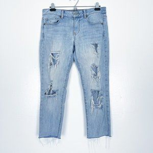 American Eagle Skinny Cropped Ripped Jeans Light 8